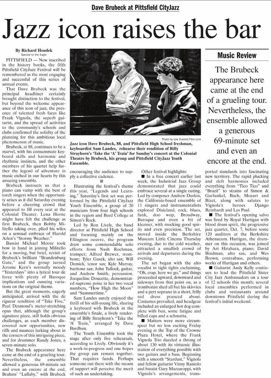 Richard Houdek review of Dave Brubeck's Pittsfield CityJazz Festival performance.